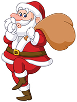 46997711 - sneaky santa claus showing silence sign and tip toeing carrying gifts sack