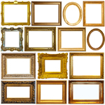 Collection of various gold vintage frames isolated on white