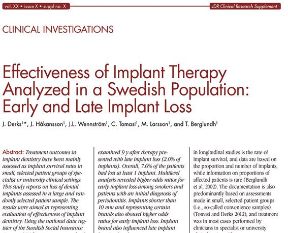 Vellykkethet i implantologi rapport